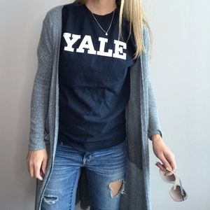 YALE blue and white tee sz S